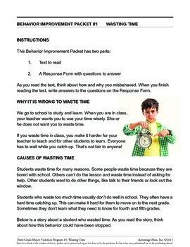3rd Grade Behavior Improvement Packet: WasteTime