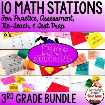 3rd Grade Math Stations Bundle