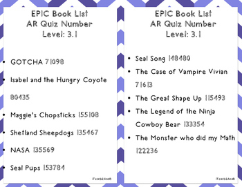 3rd Grade Book List to use with the EPIC APP