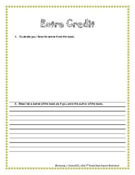 3rd Grade Book Report Worksheet