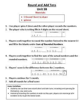 3rd Grade Bridges Math Work Places Easier Directions Unit 3