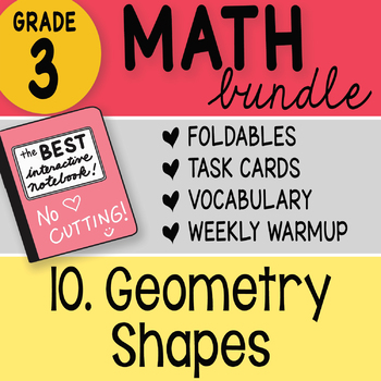 3rd Grade Bundle 10 Geometry Shapes by Math Doodles TEKS and CC