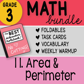 Doodle Notes - 3rd Grade Math Doodles Bundle 11. Area and Perimeter