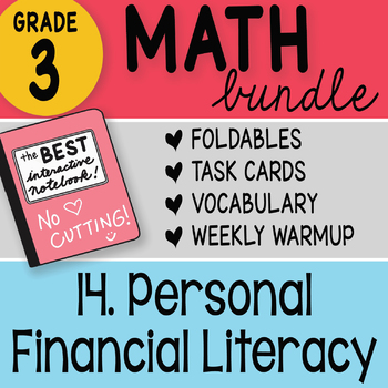 3rd Grade Bundle 14 Personal Financial Literacy by Math Doodles TEKS and CC