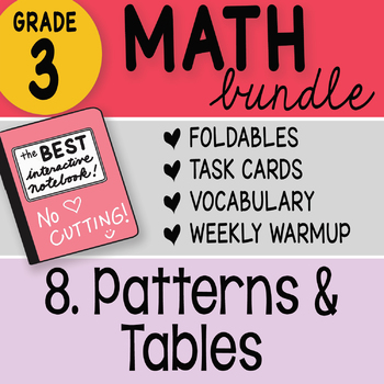 3rd Grade Bundle 8 Patterns and Tables by Math Doodles TEKS and CC Aligned