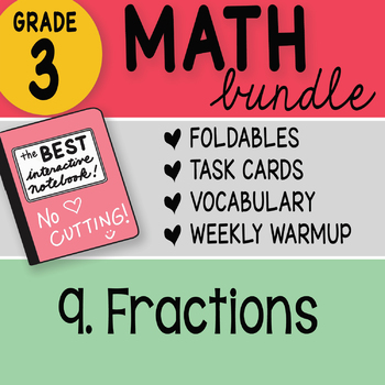 3rd Grade Bundle 9 Fractions by Math Doodles TEKS and CC