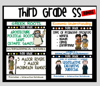 3rd Grade Bundle: Economics, Geography, Greek Roots, Government