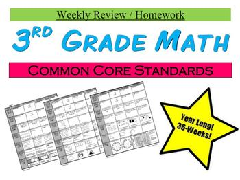 3rd Grade Common Core Math Sprial Review or Homework - Year Long, 36 Weeks