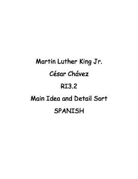 3rd Grade CC RI.3.2 Martin Luther King Jr. and César Chávez word sort in SPANISH