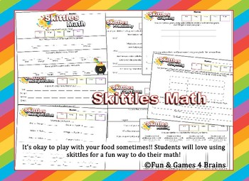 Rainbow Skittles Math - Fractions - Multiplication - Probability - Graphing