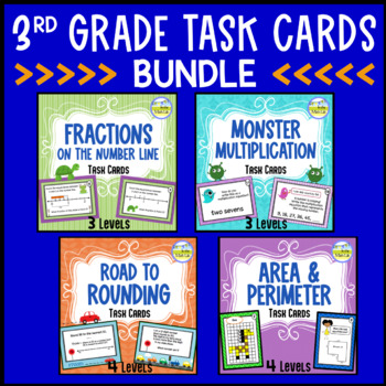 Fractions, Multiplication, Rounding, Area & Perim - TASK CARD BUNDLE