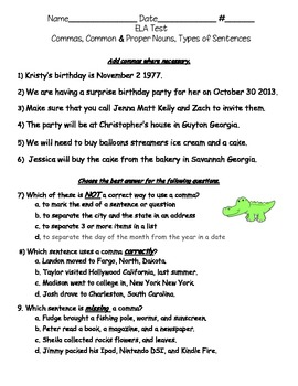 3rd Grade English Test Commas Sentences Nouns By