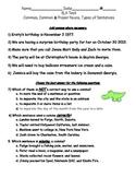 3rd Grade English Test (commas, sentences, nouns)