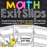 3rd Grade Math Exit Slips | Fractions