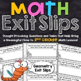 3rd Grade Math Exit Slips | Geometry