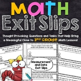 3rd Grade Math Exit Slips | Measurement and Data