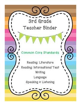 3rd Grade ELA CCSS Binder Covers