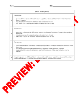 3rd Grade CCSS Constructed Response Items: RL.3.3 & RI.3.3