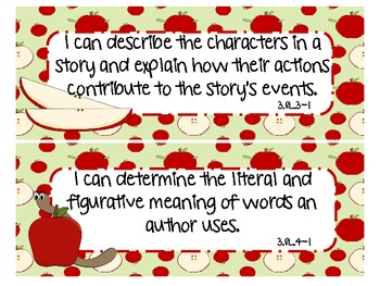 """3rd Grade CCSS ELA """"I can"""" Statements (Apple Theme)"""