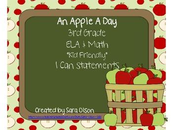 "3rd Grade CCSS ELA & Math Kid Friendly ""I Can"" Statements (Apple Theme)"