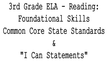 """3rd Grade CCSS ELA Reading: Foundational Skills Standards & """"I Can"""" Statements"""