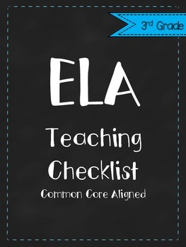 3rd Grade CCSS ELA Teaching Checklist