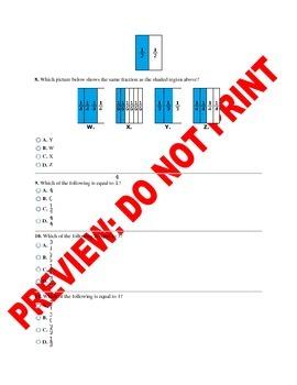 3rd Grade CCSS Equivalent Fractions Assessment