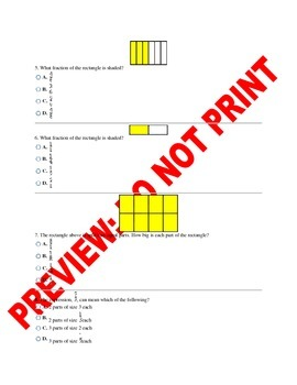 3rd Grade CCSS Fractions Assessment