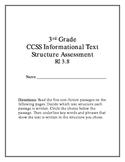 3rd Grade CCSS Informational Text Structure Assessment RI 3.8