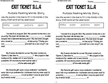 Unknown and Multiple Meaning Words Exit Tickets