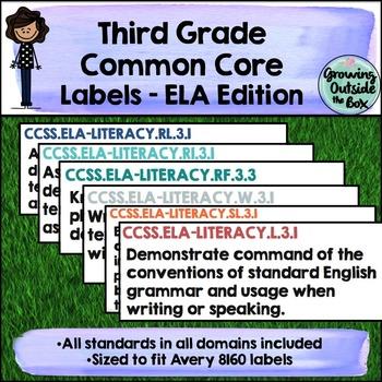 3rd Grade CCSS Labels - English Language Arts (ELA)