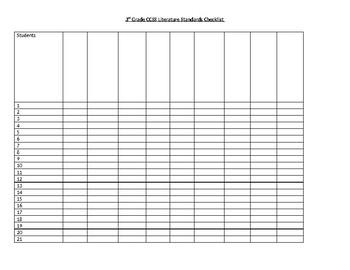 3rd Grade CCSS Literature Standards Checklist for Class