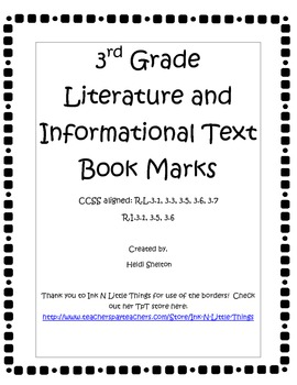 3rd Grade CCSS Literature and Informational Text Bookmarks