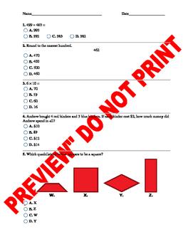 3rd Grade CCSS Math Assessment Bank Bundle