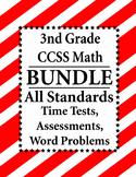 3rd Grade Math BUNDLE Word Problems, Time Tests, Assessmen