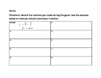 3rd Grade CCSS Math Fractions Making a Whole Memory Match Game ~ 3.NF.A.1