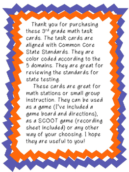 3rd Grade CCSS Math Task Cards