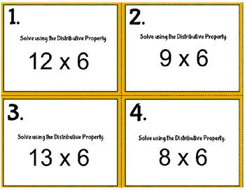 3rd Grade CCSS Math Task Cards - Word Problems & Distributive Property