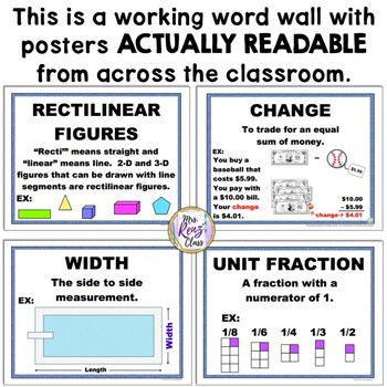 3rd Grade Math Word Wall Poster Set  (463 pages of Materials)