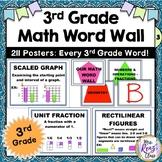 3rd Grade Math Word Wall  (211 Math Third Grade Word Wall Posters)