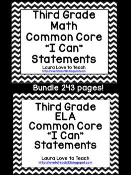 """3rd Grade CCSS Math and ELA """"I Can"""" Statements/Standards BUNDLE (B and W)"""