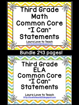 """3rd Grade CCSS Math and ELA """"I Can"""" Statements/Standards BUNDLE (Flower Themed)"""