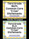 """3rd Grade CCSS Math and ELA """"I Can"""" Statements/Standards B"""