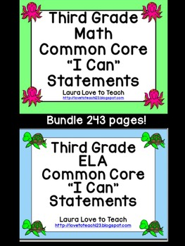 "3rd Grade CCSS Math and ELA ""I Can"" Statements/Standards BUNDLE (Ocean Themed))"