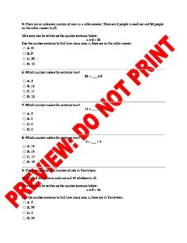 3rd Grade CCSS Number Sentences Assessment