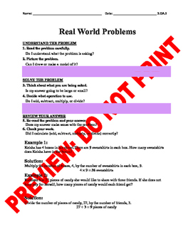 3rd Grade CCSS Real World Problem Assessment Bank