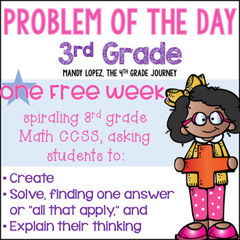 3rd Grade CCSS Spiraling Problem of the Day: FREE WEEK!