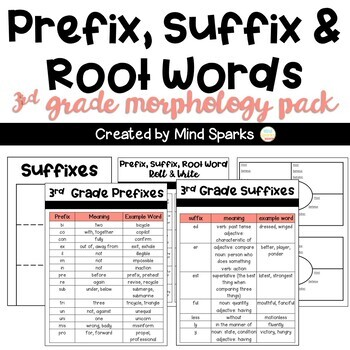 3rd Grade CCSS Word Work for Interactive Notebooks (Prefixes, Suffixes)