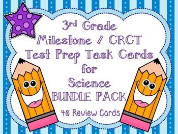 3rd Grade Milestone / CRCT Science Test Prep Task Cards Bundle Pack