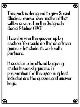 3rd Grade Social Studies GA Milestones Common Core Review Quizzes Test Prep